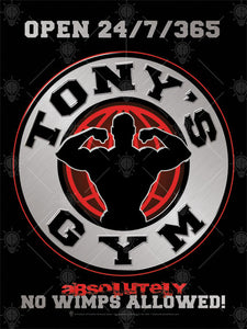 Your gym, no wimps allowed, personalized poster print, canvas print, black background, round emblem in center, white with bold black text, red globe with black muscle man posing in the center.