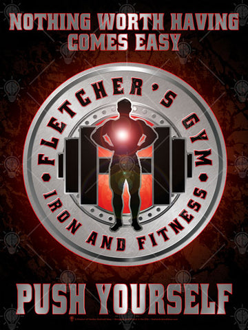 Your gym, push it, personalized poster print, canvas print, dark background , red glow, circular silver graphic with text in center, black hand weights and male silhouette graphic.