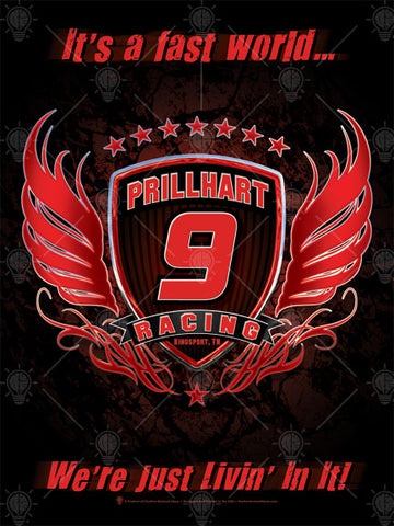 Your racing team, personalized poster print, canvas print, black background, large black shield with red and silver trim, red and silver wings on either side, team name and number over top.