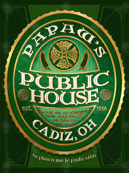 The public house, personalized Irish pub sign, poster print, canvas print, framed print, dark green background with design, vertical oval graphic, green, white and gold accents, Celtic knots, wheat symbols, white text.