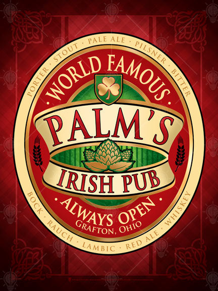 World famous Irish Pub, personalized poster print, canvas print, framed print, dark red and black background, cream and red with green accents in design, oval shape, gold shamrock in small shield, gold barley graphic in the center.