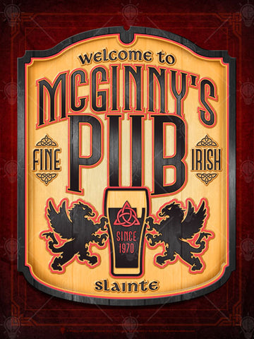 Personalized Fine Irish Pub print, canvas print, dark red with scrolling background, faux wood cut look on board, image of stout with two griffins along side.