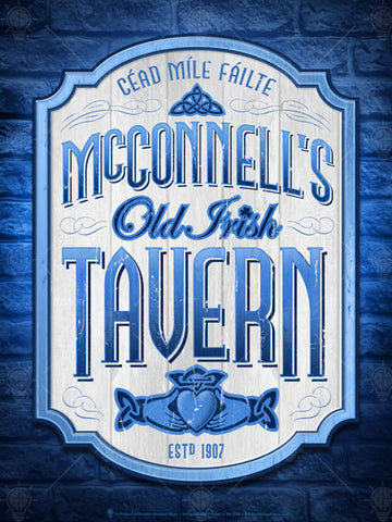 Old Irish tavern, personalized Irish poster print, canvas print, framed print, blue brick wall background, cream colored plaque with blue trim, wood cut look, blue text, clauddah symbol lower center.