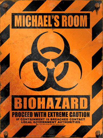 Orange and black caution style background with vintage distress, biohazard symbol in center, type reads proceed with caution.