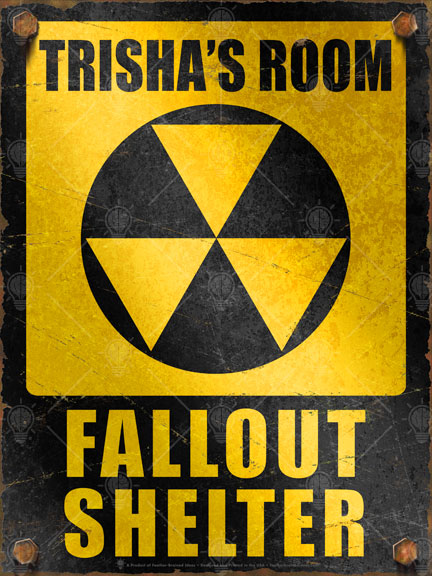 Personalized Fallout Shelter sign, poster print, canvas print, Black and yellow, radiation symbol in the center, vintage, distressed, rusted edges and bolts.