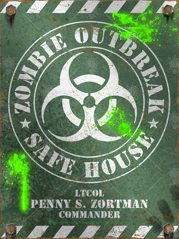 Zombie outbreak safe house sign, poster print, canvas print, vintage and distressed style, old military olive drab color, white print, rusted edges and bolts, biohazard symbol in center, splatters of bright green ooze.