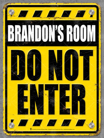 Personalized Do Not Enter Sign poster, canvas print, yellow and black, kids room, vintage and distressed.