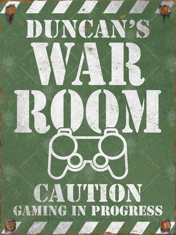 War room, personalized game room poster print, canvas print, vintage and distressed look, white text and graphic, army olive drab background.