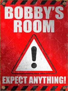 Your room, expect anything, poster print, canvas print, red background with white type, black accents, large black exclaimation point, white triangle, vintage, distressed, rusted edges and bolts.