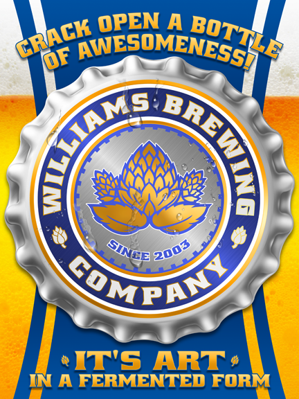 your brewing company, personalized beer poster print, canvas print, framed print, Large silver bottlecap in center, golden hops graphic, blue and gold accents and text, beer image in background.