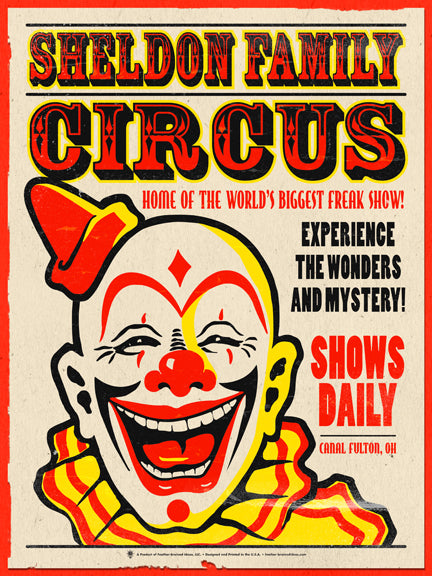 Personalized Family Circus poster print, canvas print, vintage look, distressed, clown graphic, vintage type, torn edges.