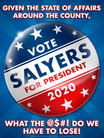 Vote button, personalized political satire poster print, canvas print, Blue background with light rays, large red, white and blue button in center.