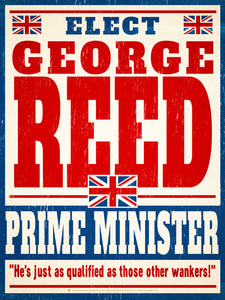 Elect Prime Minister, personalized faux political campaign poster, white with red and blue text, England flags.
