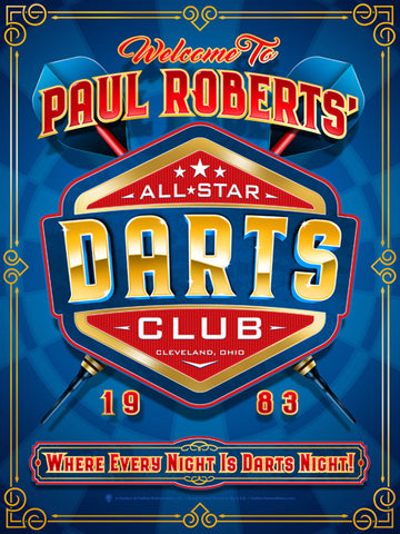 Personalized darts club print, poster, canvas print, signature line framed print, blue background with blue tonal dart board, fancy gold frame border, crossed red darts, 3D metallic looking logo element with All-star darts club.