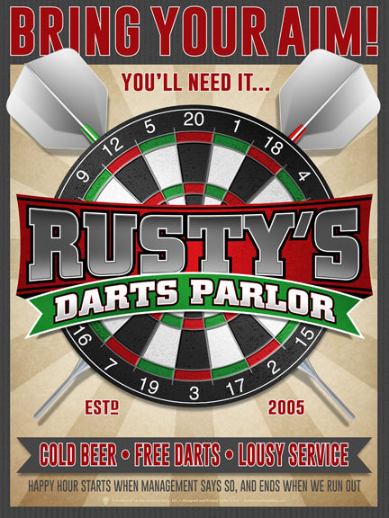 Personalized Dart Parlor Print, Poster, Canvas Print, Dart Board, Crossed Darts, Light Rays, Bring Your Aim, Cold Beer, Free Darts, Lousy Service