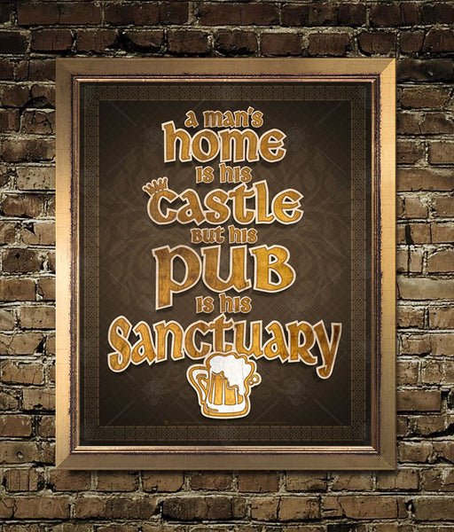 "Rustic print with saying ""A man's home is his castle, but his pub is his sanctuary."", 3D wood cut look to type and graphics, beer mug graphic below type, dark brown background, Celtic border, displayed on aged brick wall, golden frame."