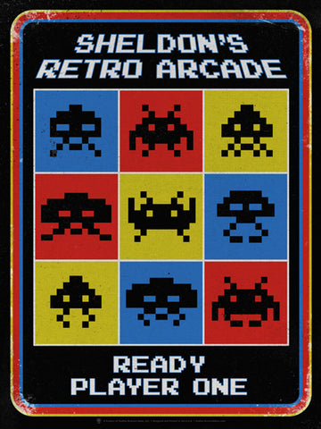 Old retro arcade, personalized poster print, canvas print, vintage and distressed style, black background, blue red and yellow squares with black alien symbols, white text reads ready player one.