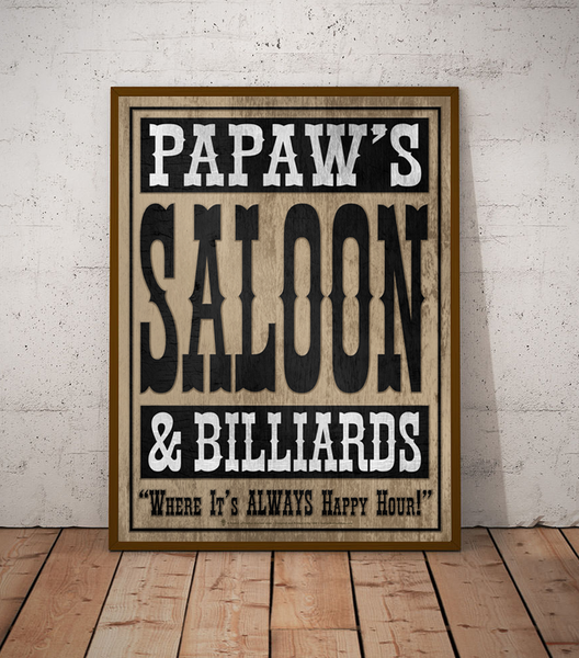 Your saloon and billards, personalized poster print, canvas print, shown displayed in a dark brown frame, off-white brick wall, wood plank floor.