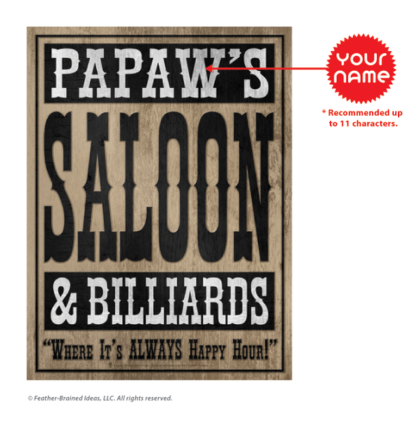 Your saloon and billards, personalized poster print, canvas print, instructions for personalization.