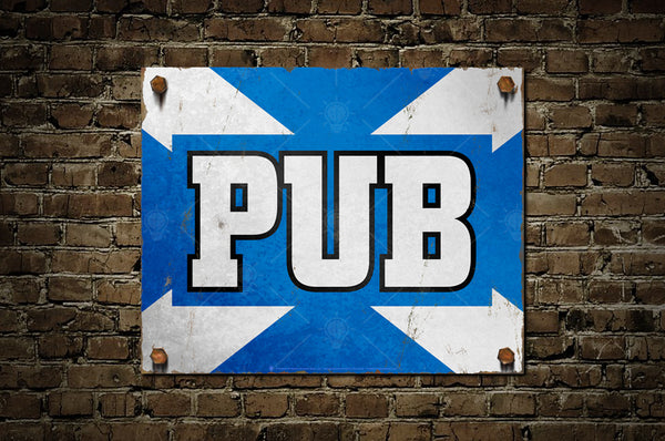Vintage Scottish Pub sign, poster print, canvas print, shown mounted on old rustic brick wall.