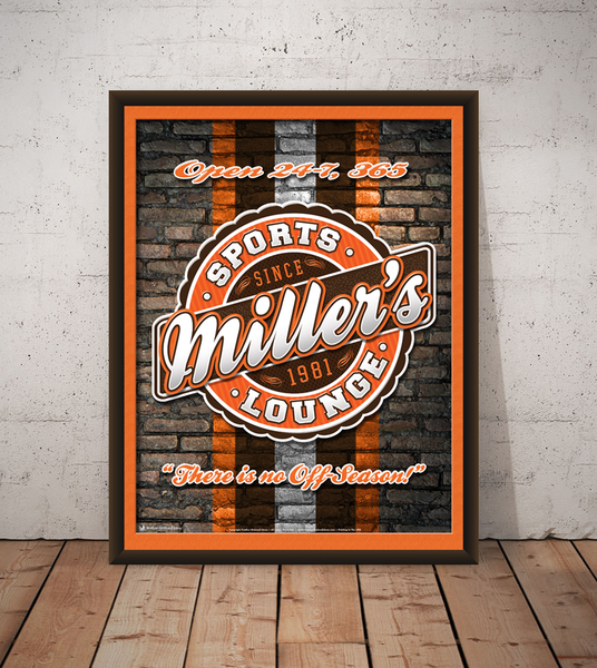 The sports lounge, personalized sports team poster print, canvas print, framed print, old brick wall in background, team colors in stripe, round graphic with orange, brown and white team colors.
