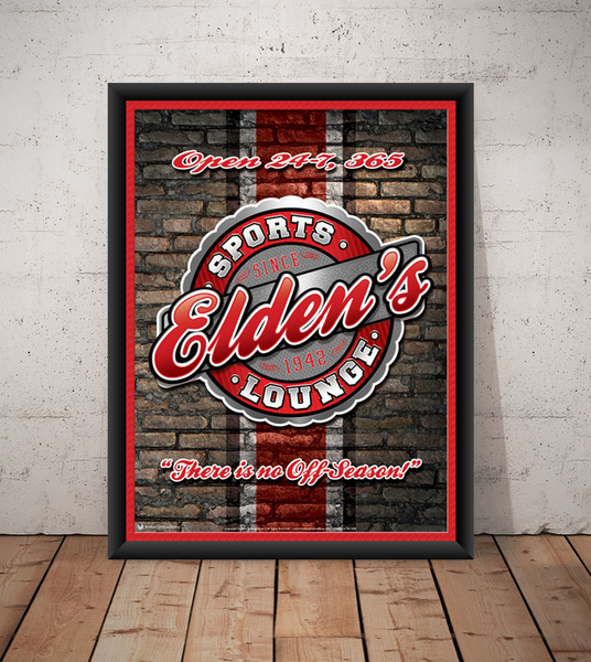The sports lounge, personalized sports team poster print, canvas print, framed print, old brick wall in background, team colors in stripe, round graphic with red, grey, white and black team colors.