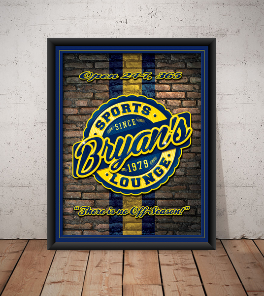 The sports lounge, personalized sports team poster print, canvas print, framed print, old brick wall in background, team colors in stripe, round graphic with navy and yellow team colors.