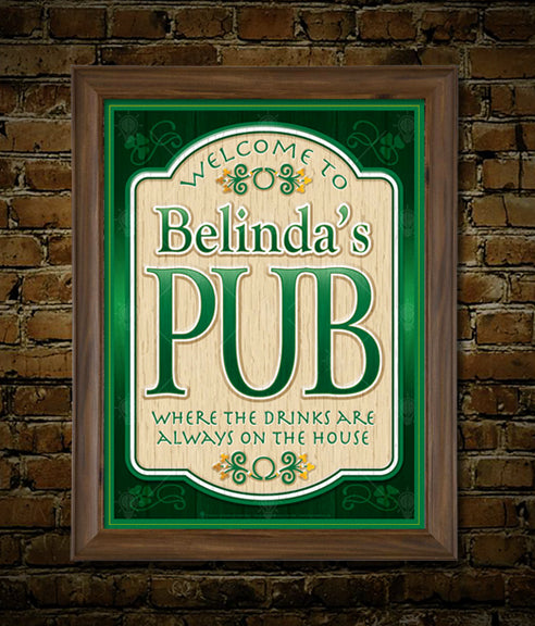 The old pub, personalized Irish pub sign, poster print, canvas print, framed print, shown with green mats, brown frame, mounted on old brick wall background.