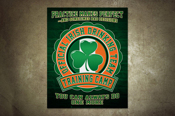 Funny Irish poster, official Irish drinking team, training camp, poster print, canvas print, shown mounted on rustic plater wall.