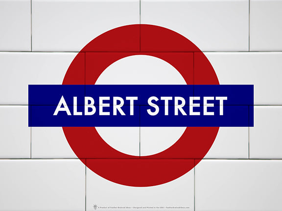 English underground symbol, your name for the street name, white subway tile background, red and blue graphic.