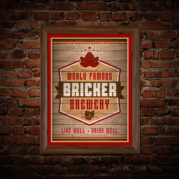 World Famous brewery, personalized poster print, canvas print, framed print, shown displayed with red and gold mats, dark wood frame, mounted on old brick wall.