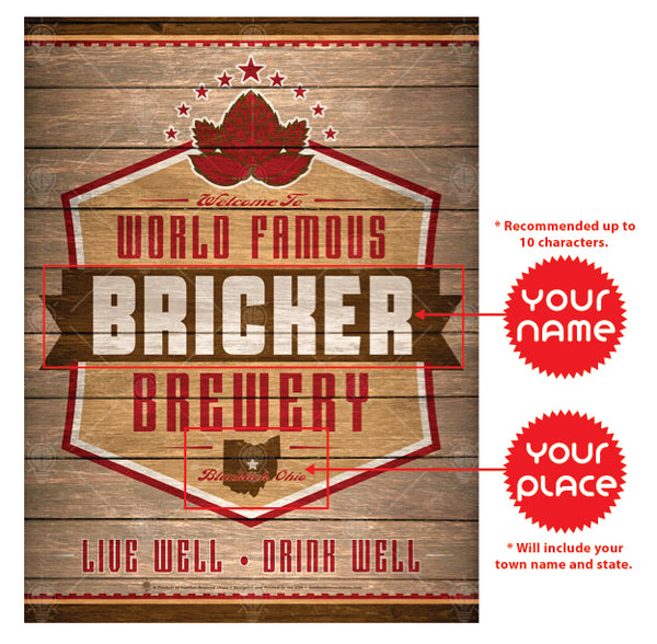 World Famous brewery, personalized poster print, canvas print, framed print, instructions for personalization.