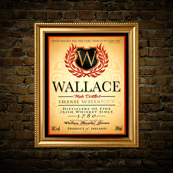 Irish whiskey label, personalized Irish poster print, canvas print, framed print, shown in a gold frame, mounted on an old brick wall.