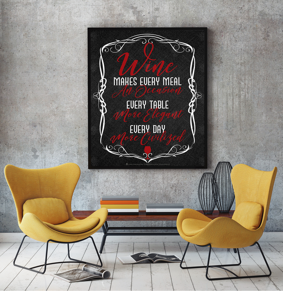 Wine makes every meal and occassion, every table more elegant, every day more civilized, poster print, canvas print, shown mounted on grey wall, two yellow chairs facing each other.
