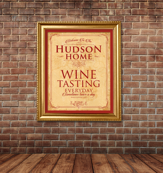 Your Home Wine Tasting, personalized poster print, canvas print, framed print, shown displayed on brick wall, wood plank floor.