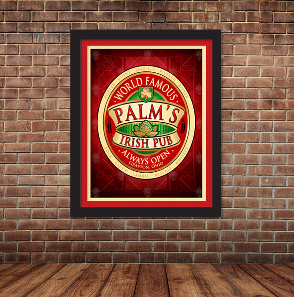 World famous Irish Pub, personalized poster print, canvas print, framed print, mounted with red and tan mats, black frame, old brick wall, wood floor.