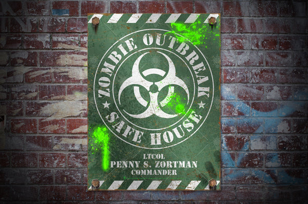 Zombie outbreak safe house sign, poster print, canvas print, shown mounted on old brick wall background.