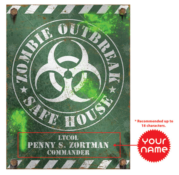 Zombie outbreak safe house sign, poster print, canvas print, instruction for personalization.