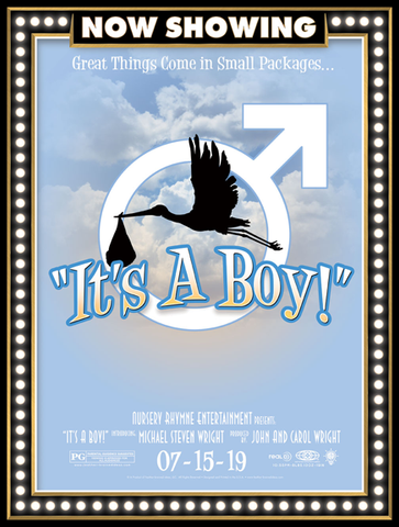 It's a boy, birth announcement, poster print, canvas print, movie marquee look, now showing, blue background, pretty clouds, stork carrying baby bundle silhouette, male symbol, movie credits.