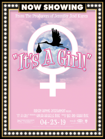 It's a girl, birth announcement, poster print, canvas print, movie marquee look, now showing, pink background, pretty clouds, stork carrying baby bundle silhouette, female symbol, movie credits.