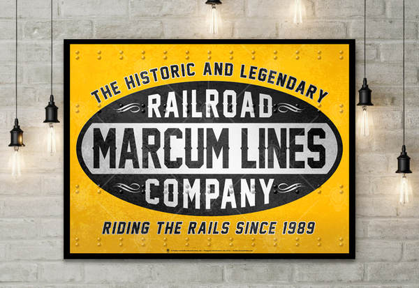 Your lines, railroad company, personalized poster print, canvas print, shown displayed in black frame, mounted on white brick wall, small hanging lights.