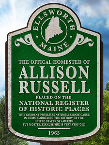 Historic Places marker sign, personalized poster print, canvas print, trees and blue sky in the background, green historic sign plate, 3D white text, vintage and distressed look.