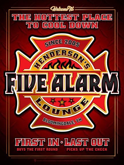 Five alarm lounge, personalized fireman's man cave style poster print, canvas print, dark red background with diamond plate texture, fire dept symbol in center, with red, black and white text.