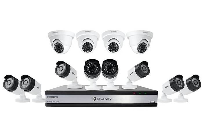 1 16 channel 12 cam 1080P wired security system with night vision G71684D3 security systems uniden