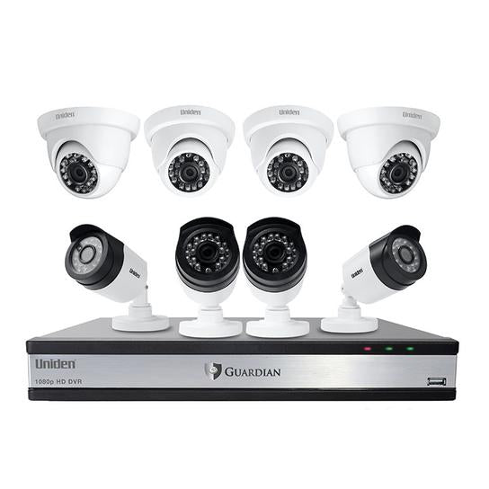16 channel 8 camera 1080P wired security system G71644D3 security cameras uniden
