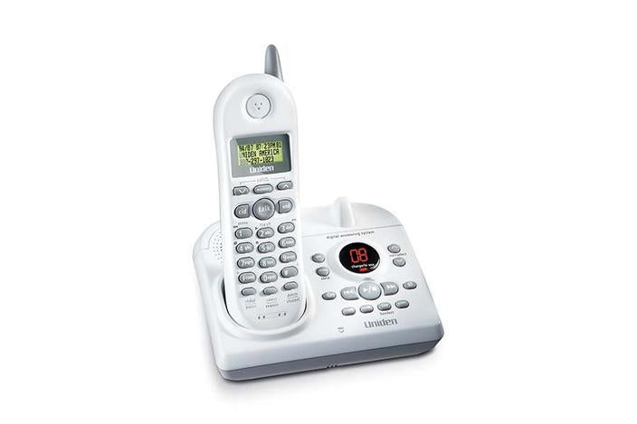 2.4 GHz white cordless answering system EXAI4580 cordless phones uniden