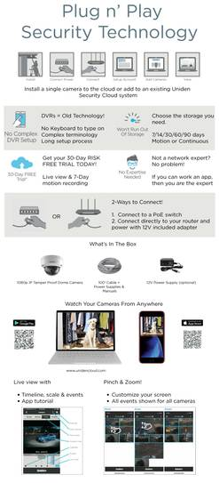 4 single 1080P outdoor tamper proof dome wired cloud camera UC100D DC cloud camera uniden