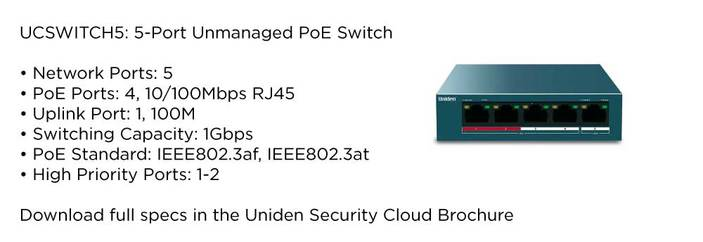 4 unmanaged 5 port switch UCSWITCH5 accessory uniden