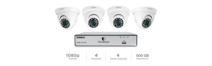 4 Channel 4 Cam 1080p Wired Security System 100' Night Vision 500GB HDD