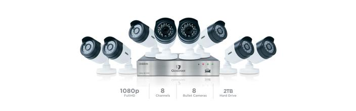 7 1080P wired security system 8 channel 8 camera G6880D2 security system uniden